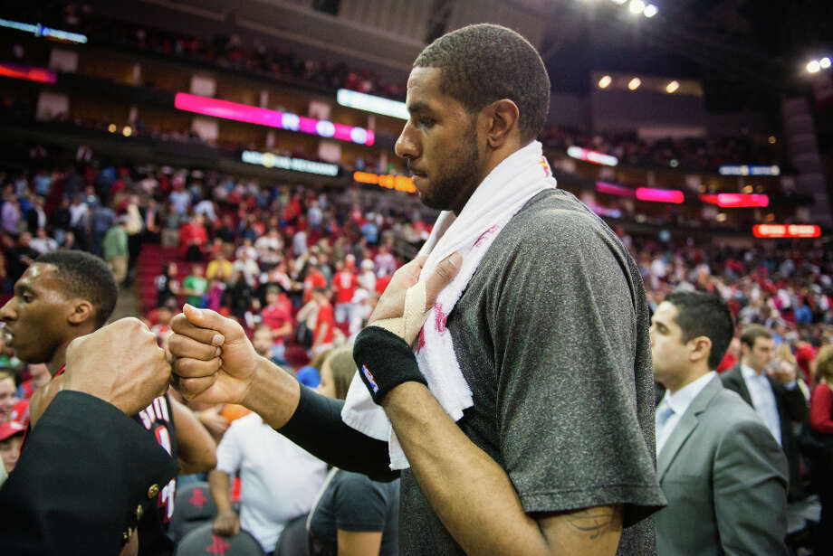 Portland power forward LaMarcus Aldridge leaves the court following the 118-103 loss. Photo: Smiley N. Pool, Houston Chronicle / © 2013  Houston Chronicle