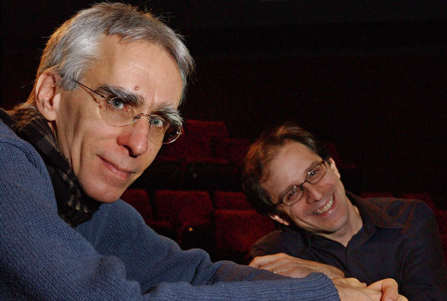 "FILE - This March 6, 2003 file photo shows playwright David Ives, left, and director John Rando at the Manhattan Theatre Club in New York. The playwright is this month actually celebrating the 20th anniversary of his first big success _ ""All in the Timing,"" a collection of six short plays. Primary Stages, which produced the plays in 1993, is once again mounting them, this time at 59E59 Theatres.  (AP Photo/Frank Franklin II, file) Photo: FRANK FRANKLIN II"
