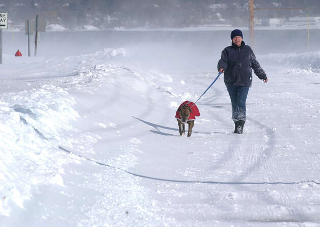 Brennan walks her dog Jamine along Beach Street after a blizzard pounded the region in West Haven, Conn. on Saturday February 9, 2013. Photo: Christian Abraham / Connecticut Post