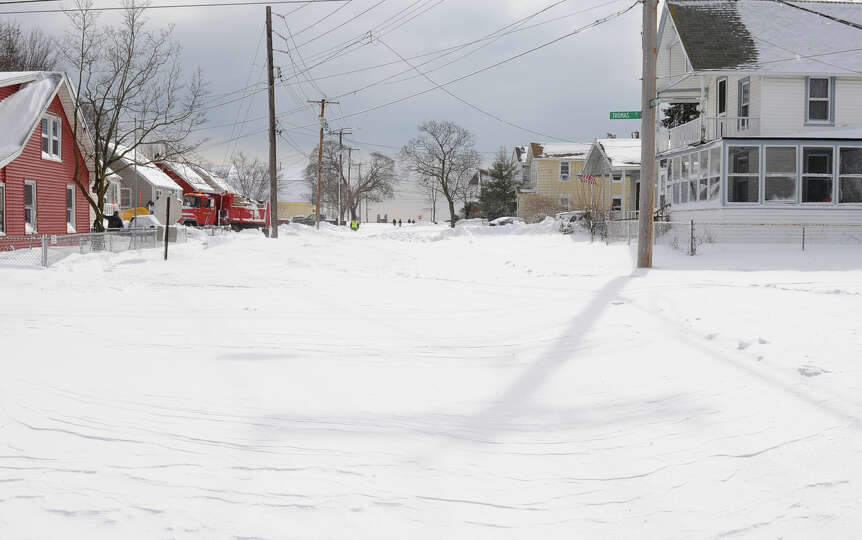 An impassable side street after a blizzard pounded the region in West Haven, Conn. on Saturday Febru