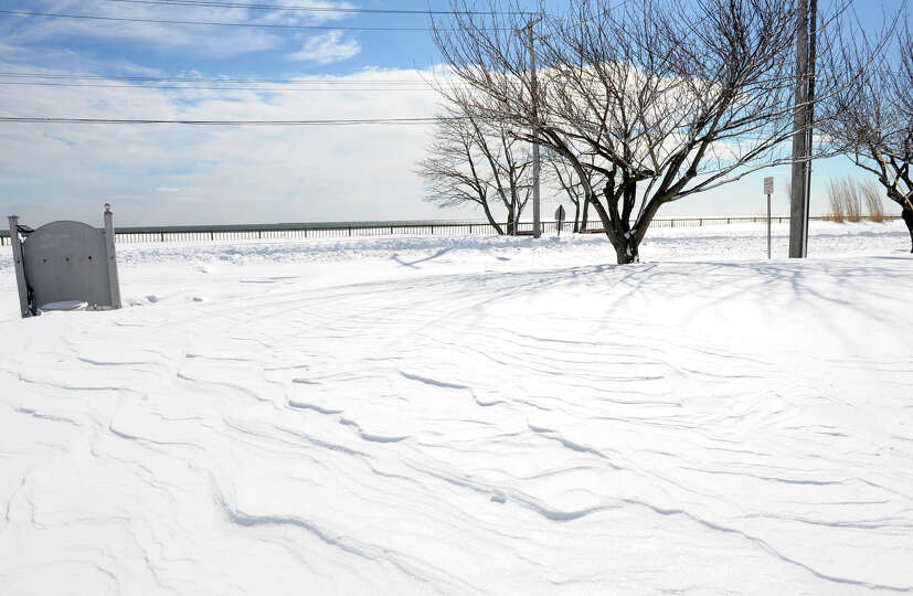 A view looking toward the Long Island Sound on Beach Street after a blizzard pounded the region in W