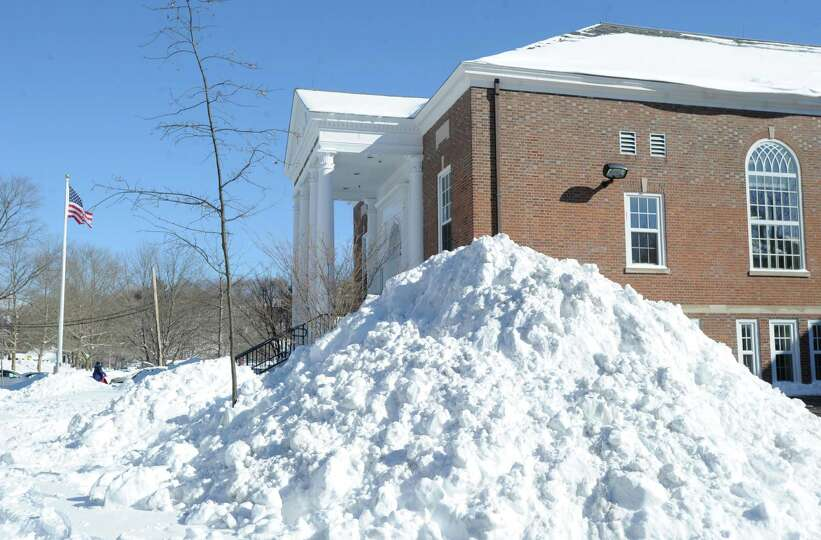 A mound of snow outside the Western Greeenwich Civic Center during the aftermath of the blizzard tha