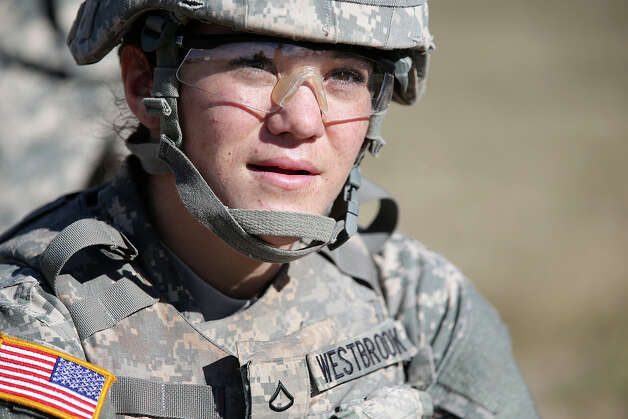 Pfc. Justine Westbrook, 18, is going through Army medic training in San Antonio. Photo: Jerry Lara, San Antonio Express-News / San Antonio Express-News