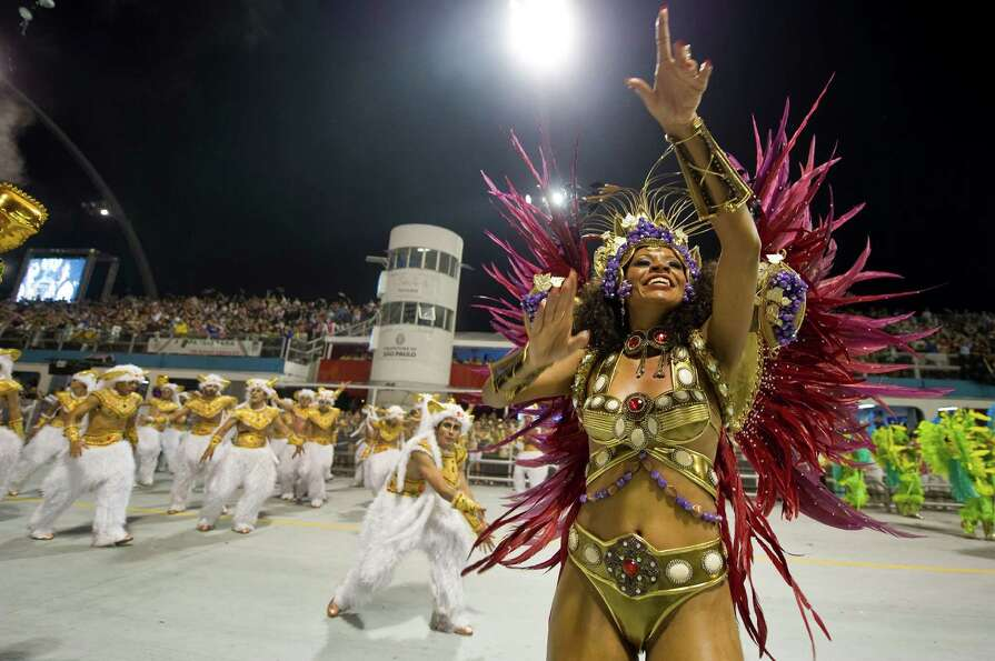 A reveller of Vai-vai samba school performs  during the first night of Carnival parades at Sao Paulo
