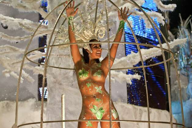 A reveller of Vai-vai samba school performs during the first night of Carnival parades at Sao Paulo on February 09, 2013. Photo: NELSON ALMEIDA, AFP/Getty Images / 2013 AFP