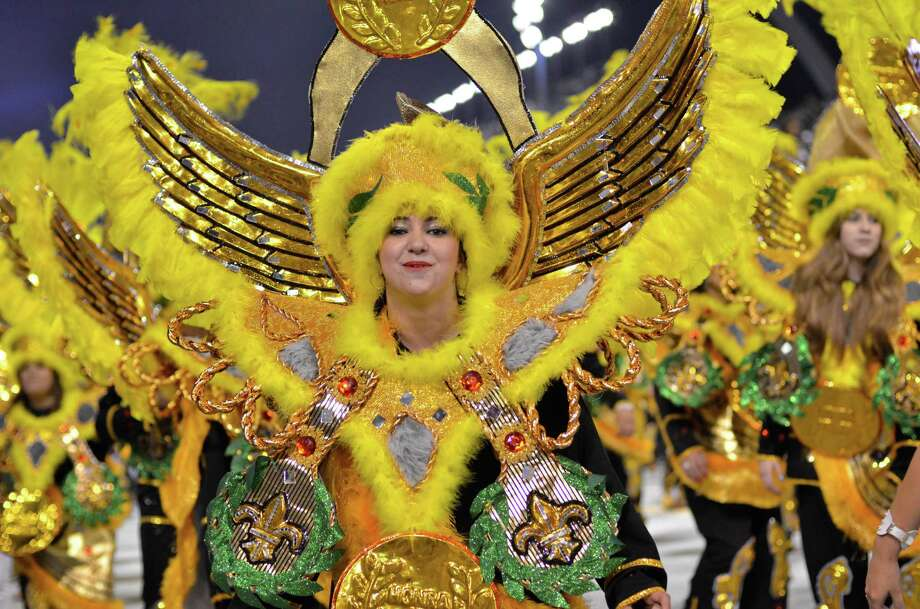 Members of the samba school Academics of Tatuape dance during the carnival parade at the Anhembi Sambadrome on February 8, 2013 in Sao Paulo, Brazil. Photo: LatinContent/Getty Images