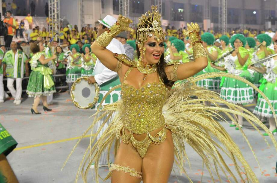 Queen of the Battery Viviane Araujo of the samba school Mancha Verde dances during the carnival parade at the Anhembi Sambadrome on February 9, 2013 in Sao Paulo, Brazil. Photo: LatinContent/Getty Images