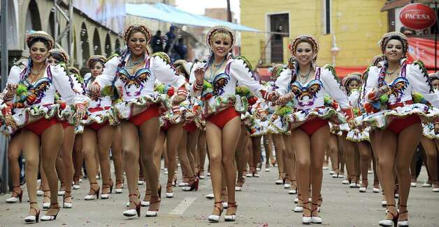 Dancers of the Caporales San Simon brotherhood preform during the Carnival of Oruro, in the mining town of Oruro, 240 km south of La Paz. Photo: AIZAR RALDES, AFP/Getty Images / 2013 AFP