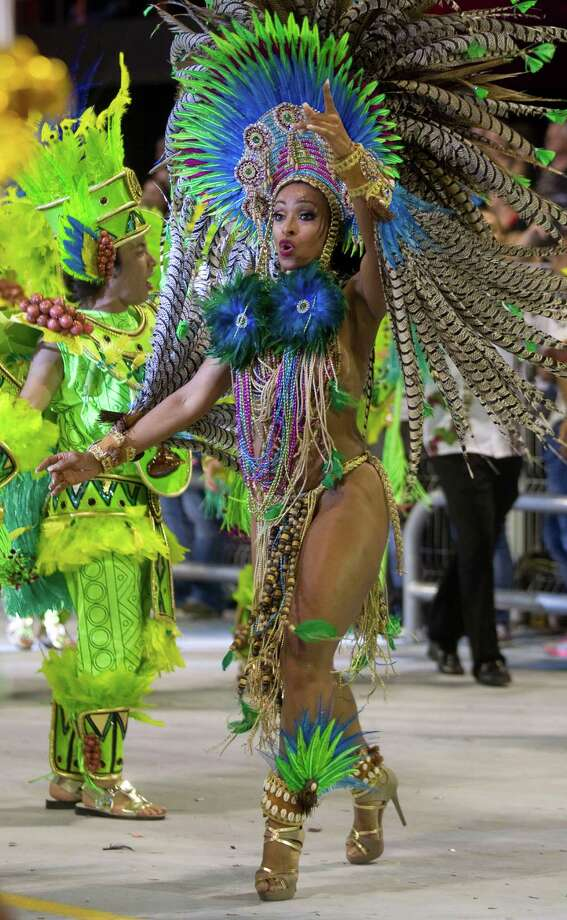 A dancer from the Vai-Vai samba school performs during a carnival parade in Sao Paulo, Brazil. Photo: AP