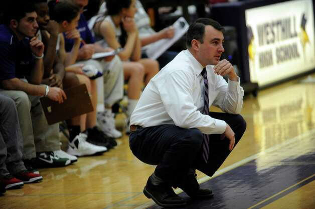 Westhill High School girls basketball coach Mike King has the Vikings playing like championship contenders. Photo: Helen Neafsey / Greenwich Time