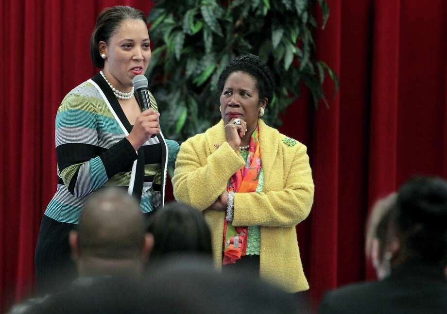 """North Forest ISD Superintendent Edna Forte, left, told those at Saturday's meeting - including Rep. Sheila Jackson Lee - that the district """"will get another opportunity to build on the good work we did this year."""" Photo: James Nielsen, Staff / © Houston Chronicle 2013"""