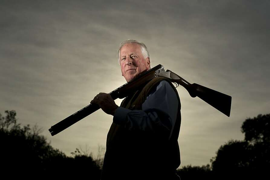 Avid hunter and gun owner Rep. Mike Thompson, D-St. Helena, shoulders his shotgun after shooting cla