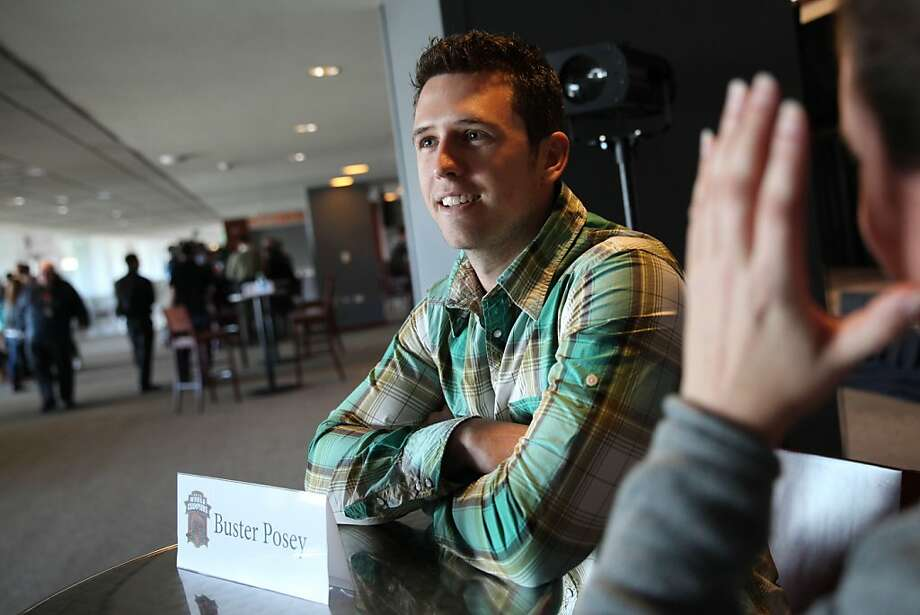 Buster Posey, in town for the Giants' FanFest, does not by nature revel in all of the face-of-the-franchise talk. Photo: Lea Suzuki, The Chronicle