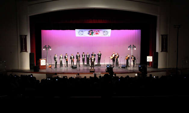 The Brackenridge High School Mariachi Band take the stage at the Texas High School Mariachi Competition by the Mexican American School Board Association at Edgewood ISD Theater of Performing Arts on Saturday, Feb. 9, 2013. Photo: Kin Man Hui, San Antonio Express-News / © 2012 San Antonio Express-News