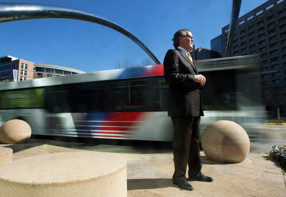 """Uptown Houston President John Breeding says the plan Uptown Houston has come up with for transit is """"recognition of reality."""" The $177.7 million project would use large buses on a dedicated route along Post Oak to deliver train-like service. Photo: J. Patric Schneider, Freelance / © 2013 Houston Chronicle"""
