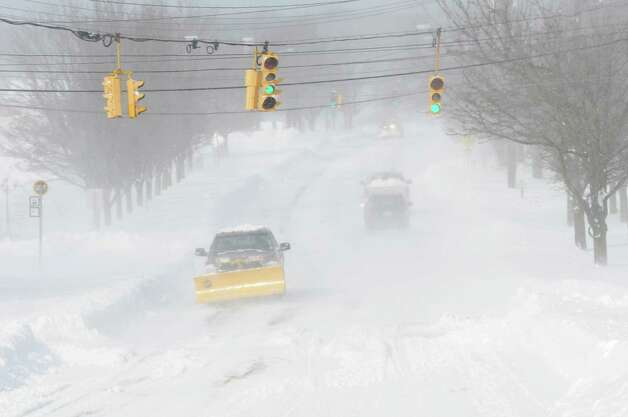 Blowing winds caused near whiteout conditions on Black Rock Turnpike in Fairfield, Conn. on Saturday, Feb. 9, 2013. Southwestern Connecticut was hit by one of the biggest snowstorms in history, a howling blizzard that dumped up to three feet of snow across the state. Photo: Cathy Zuraw / Connecticut Post