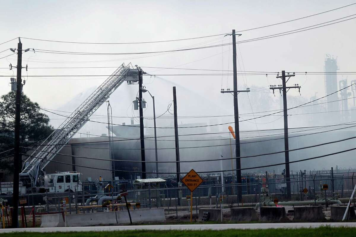 Firefighters battle the explosion and fire Saturday at the Air Liquide plant at 11450 W. Fairmont Parkway in La Porte, where one person was injured and another missing. The facility works with a mix of industrial gases such as nitrogen and hydrogen.