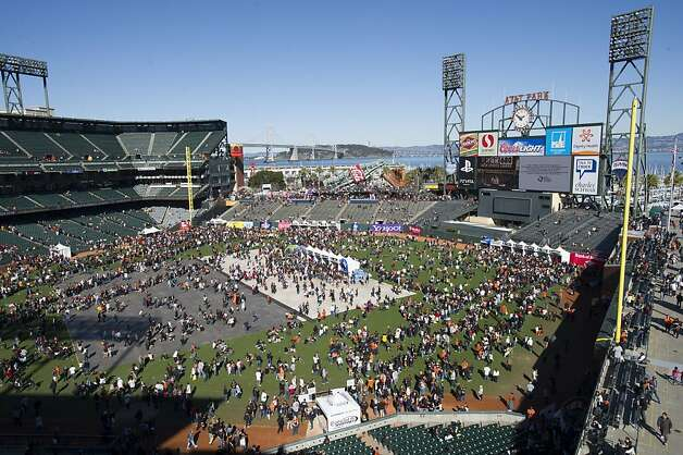 San Francisco Giants fans on the field during fan appreciation day at AT&T Park in San Francisco, Calif., on Saturday, Feb. 9, 2013. Photo: David Paul Morris, Special To The Chronicle