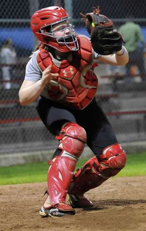 Catcher Morgan Buie throws a pitch back to her pitcher. Lamar softball is having it's first season since 1987. Thursday night found the girls team getting practice done at the Ford Park complex. They will open their 2013 season on Saturday.   Dave Ryan/The Enterprise