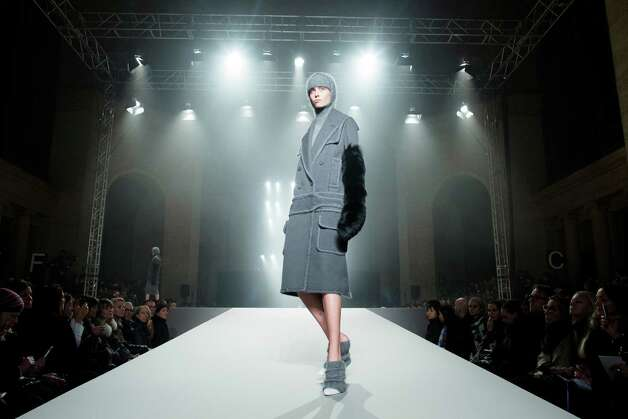 A model walks the runway during the Alexander Wang fall 2013 fashion show. Photo: John Minchillo