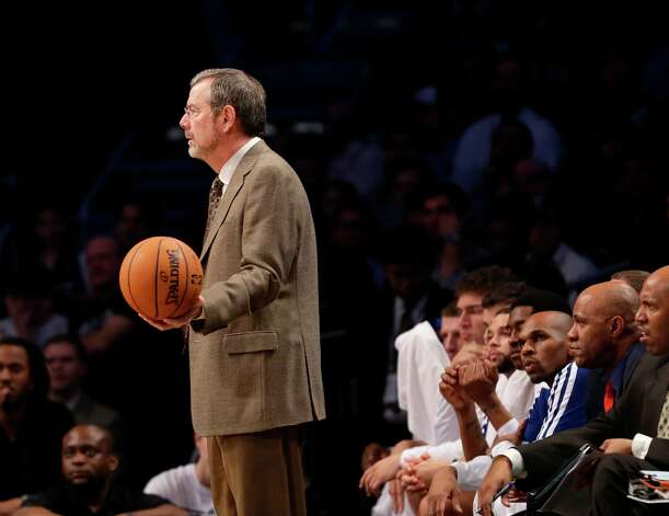 Nets interim head coach P.J. Carlesimo holds the ball during the first half of their game against the Miami Heat at the Barclays Center, Wednesday, Jan. 30, 2013 in New York. Photo: Kathy Willens, Associated Press / AP