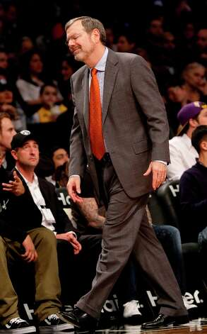 Nets coach P.J. Carlesimo reacts during the second half of the game against the Los Angeles Lakers at the Barclays Center on Tuesday, Feb. 5, 2013 in New York. The Lakers beat the Nets 92-83. Photo: Seth Wenig, Associated Press / AP
