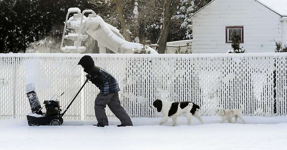 Justin Bertollo, 10, is followed by his dogs Daisy and Nelson as he pushes the snow blower while cle