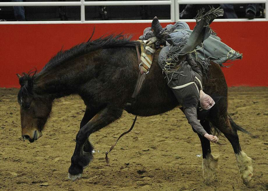Bee Jay Scott manages to hang on during this ride to score a 76 during the bareback riding competition on the third day of Stock Show & Rodeo on Saturday, Feb. 9, 2013. Photo: Billy Calzada, San Antonio Express-News / San Antonio Express-News