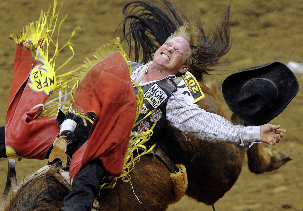 Bareback rider Wes Stevenson scores an 80 on this ride during the third day of Stock Show & Rodeo on Saturday, Feb. 9, 2013.