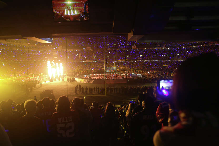 Pyrotechnics light up the field during the halftime show for Super Bowl XLVII at the Mercedes-Benz Superdome on Sunday February 3, 2013, New Orleans, La. Photo: Mike Kepka, The Chronicle / ONLINE_YES