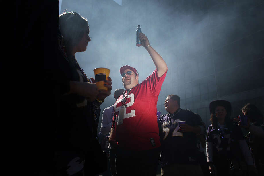 Tailgating outside the Mercedes-Benz Superdome, Tyler Doherty, Petaluma, Calif. holds a beer  before Super Bowl XLVII between the San Francisco 49ers and the Baltimore Ravens at the on Sunday February 3, 2013, New Orleans, La. Photo: Mike Kepka, The Chronicle / ONLINE_YES