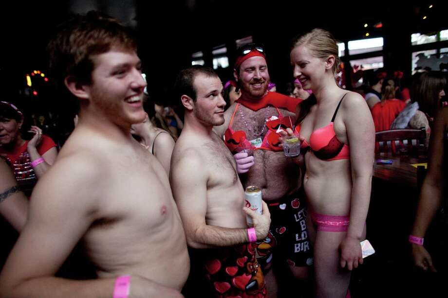 Participants gather before participating in Cupid's Undie Run in Seattle's Fremont neighborhood. Hundreds of people gathered at the Ballroom and then completed a roughly mile-long run in their skivvies. The event was a fundraiser for The Children's Tumor Foundation. Photo: JOSHUA TRUJILLO, SEATTLEPI.COM / SEATTLEPI.COM