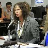 Aerosmith lead singer Steven Tyler testifies on celebrity privacy during a hearing at the Hawaii Capitol in Honolulu on Friday. Rock legends Steven Tyler and Mick Fleetwood convinced a Hawaii Senate committee on Friday to approve a bill to protect celebrities or anyone else from intrusive paparazzi. The state Senate Judiciary Committee approved the so-called Steven Tyler Act after the stars testified. The bill would give people power to sue others who take photos or video of their private lives in an offensive way.