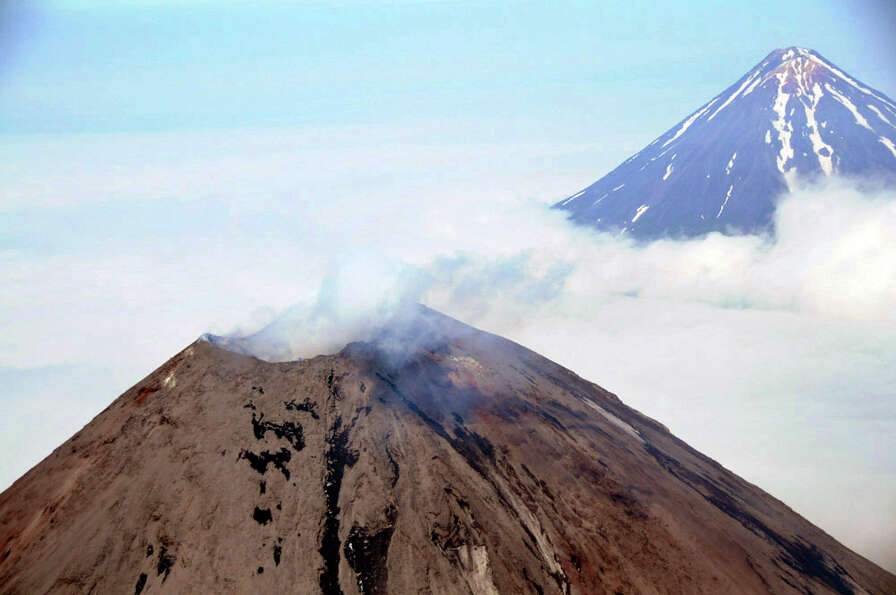 The Cleveland Volcano, located in the Aleutian Islands 939 miles southwest of Anchorage, Alaska, has