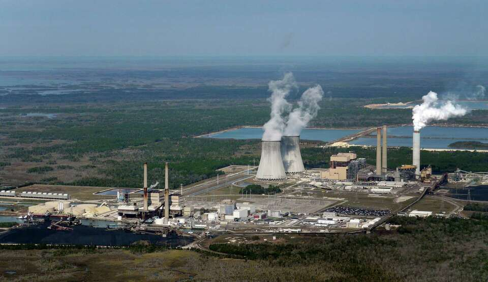 This aerial photo shows the crippled Crystal River nuclear plant in Crystal River, Fla., on Tuesday.