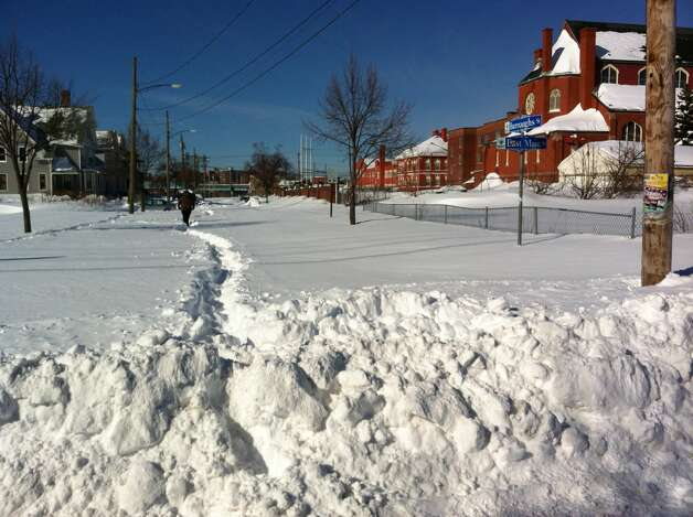 Burroughs Street off of East Main Street Bridgeport on Sunday, Februaury 10. Photo: John Burgeson