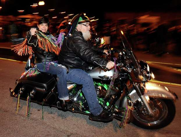 Motorcycles parade down Proctor Street in Port Arthur during the Total Krewe of Aurora Parade on Saturday, February 9, 2013. Photo taken: Randy Edwards/The Enterprise Photo: Randy Edwards