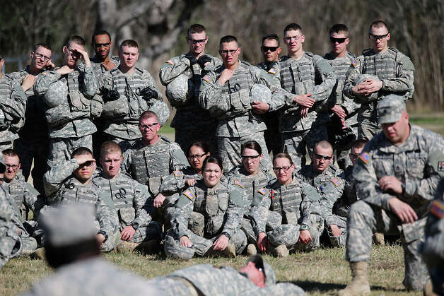 Troops going through medic training listen to instructors at Joint Base San Antonio-Fort Sam Houston. They're part of the 232nd Medical Battalion and undergo 16 weeks of training. Women make up one in every five of the 2,600 soldiers now training to be medics at Fort Sam. Photo: Jerry Lara, San Antonio Express-News / San Antonio Express-News