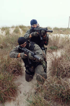 Navy SEALS, part of US Special Forces, during a training exercise.