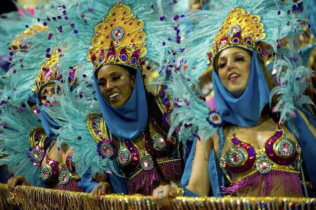 Revelers of Tom Maior samba school perform during the second night of Carnival parades at the Sambadrome on Sunday in Sao Paulo, Brazil. Photo: NELSON ALMEIDA, Getty / 2013 AFP