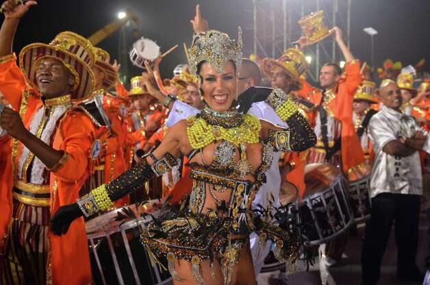 Ana Paula Minerato of the samba school Gavioes da Fiel dances during the second day of carnival parade at the Anhembi Sambadrome on Sunday in Sao Paulo, Brazil. Photo: Getty
