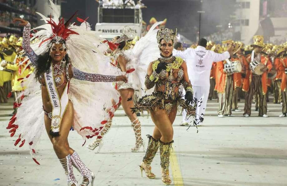 Sabrina Satto, presenter of the samba school Gavioes da Fiel dances during the second day of carnival parade at the Anhembi Sambadrome on Sunday in Sao Paulo, Brazil. Photo: Getty