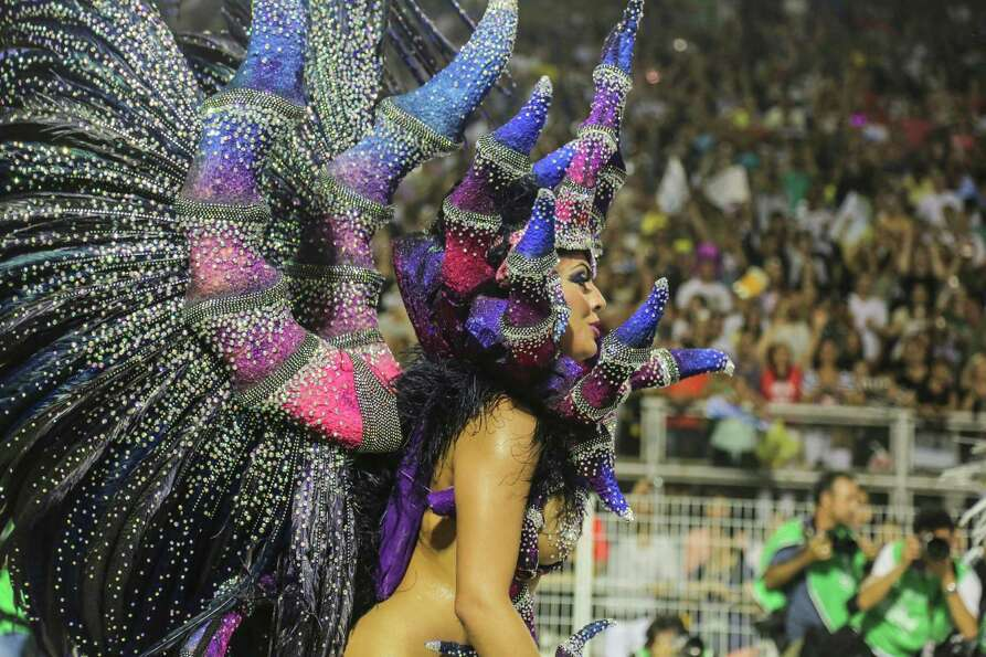 Members of the samba school Nen de Vila Matilde dance during the second day of carnival parade at th