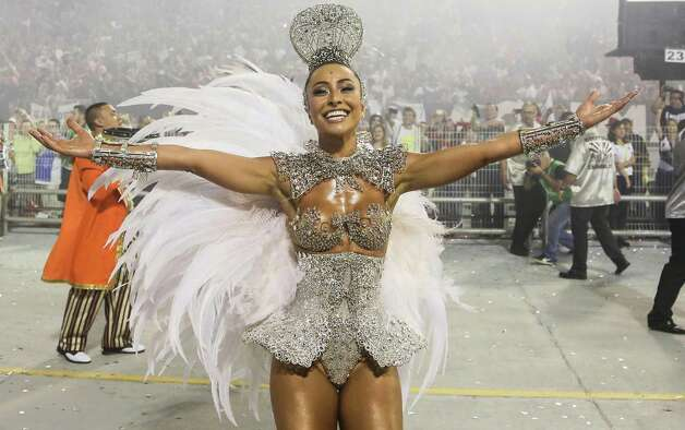 Sabrina Satto, presenter of the samba school Gavioes da Fiel dances during the second day of carnival parade at the Anhembi Sambadrome on Sunday in Sao Paulo, Brazil. Photo: Getty
