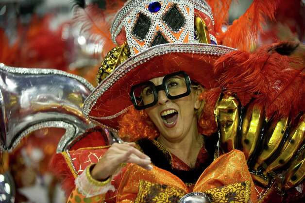 A reveler of Gavioes da Fiel samba school performs during the second night of Carnival parades at the Sambodromo in Sao Paulo on Sunday in Sao Paulo, Brazil. Photo: NELSON ALMEIDA, Getty / 2013 AFP