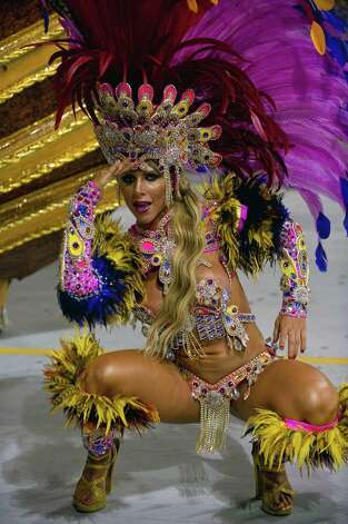 A reveler of Gavioes da Fiel samba school performs during the second night of Carnival parades at the Sambadrome on Sunday in Sao Paulo, Brazil. Photo: NELSON ALMEIDA, Getty / 2013 AFP