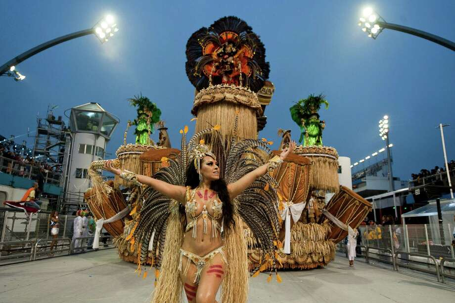 Revelers of Imperio de Casa Verde samba school perform during the second night of Carnival parades at the Sambadrome on Sunday in Sao Paulo, Brazil. Photo: NELSON ALMEIDA, Getty / 2013 AFP