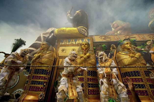 Revelers of Imperio de Casa Verde samba school performs atop a float during the second night of Carnival parades at the Sambadrome on Sunday in Sao Paulo, Brazil. Photo: NELSON ALMEIDA, Getty / 2013 AFP