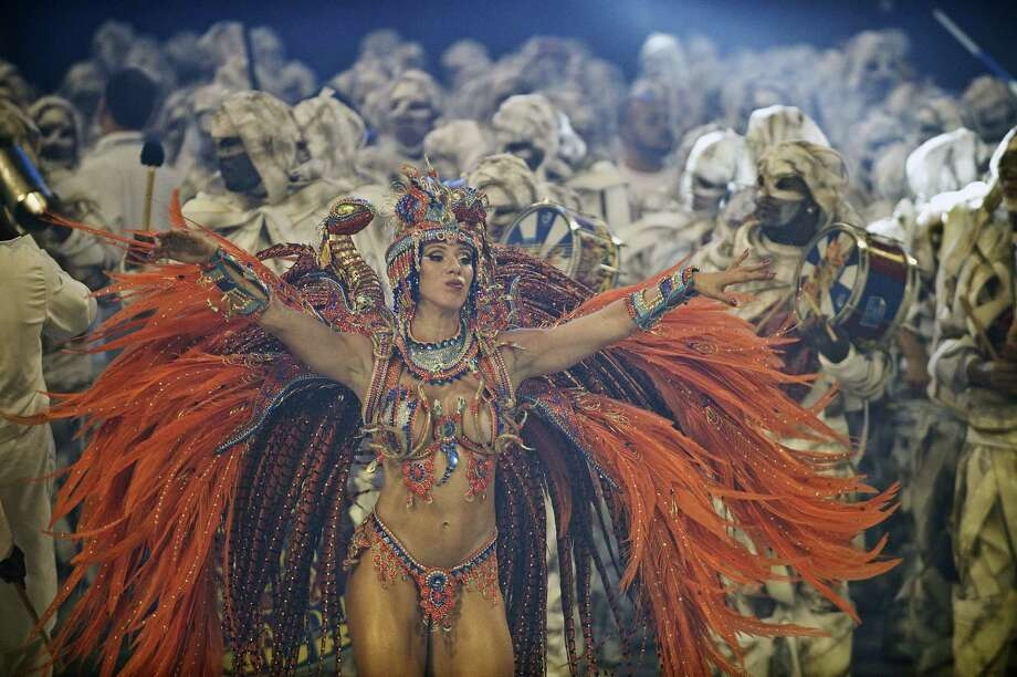 A reveler of Imperio de Casa Verde samba school performs during the second night of Carnival parades at the Sambadrome on Sunday in Sao Paulo, Brazil. Photo: NELSON ALMEIDA, Getty / 2013 AFP