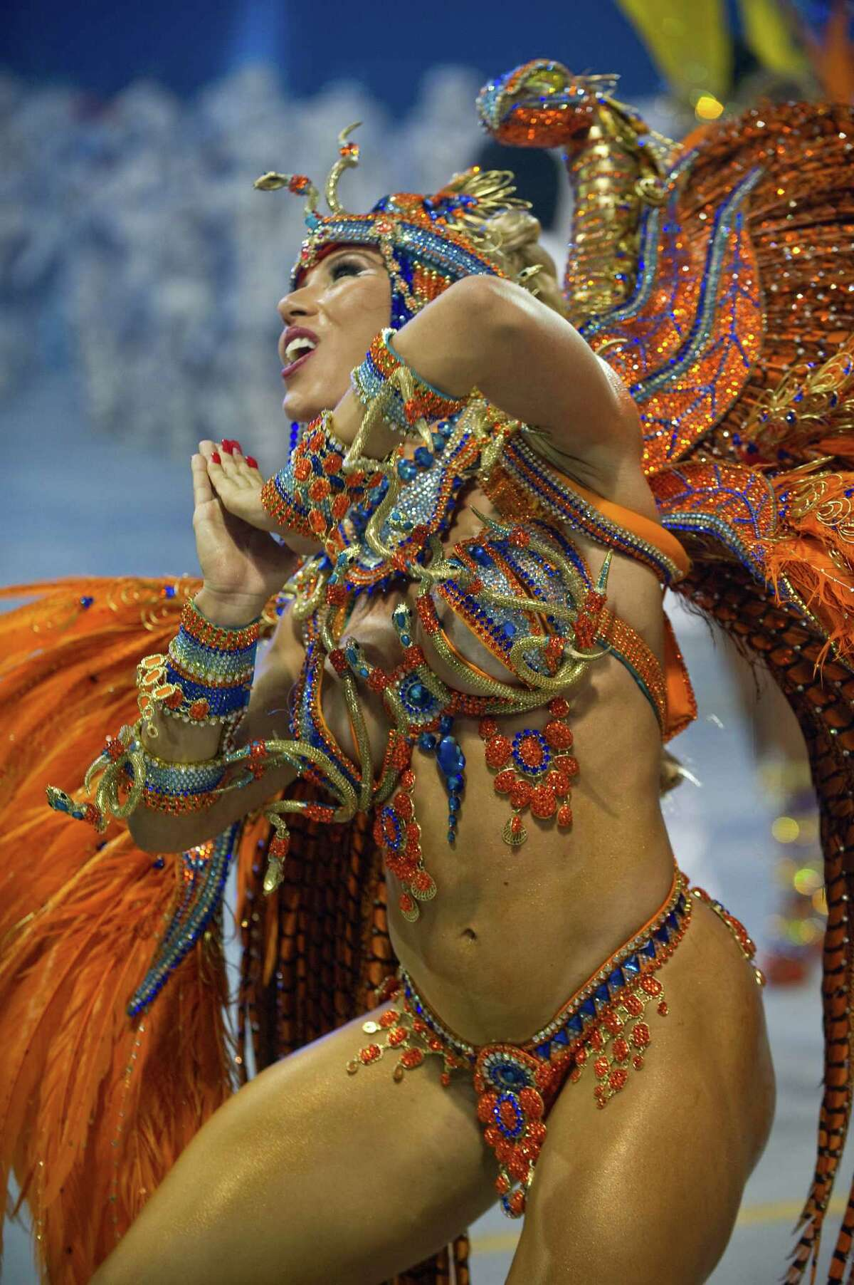 A reveler of Imperio de Casa Verde samba school performs during the second night of Carnival parades at the Sambadrome in Sao Paulo on Sunday.